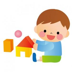 積み木遊び子供